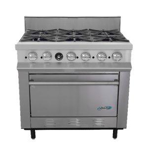 Estufa comercial de 6 quemadores con horno SSE6Q